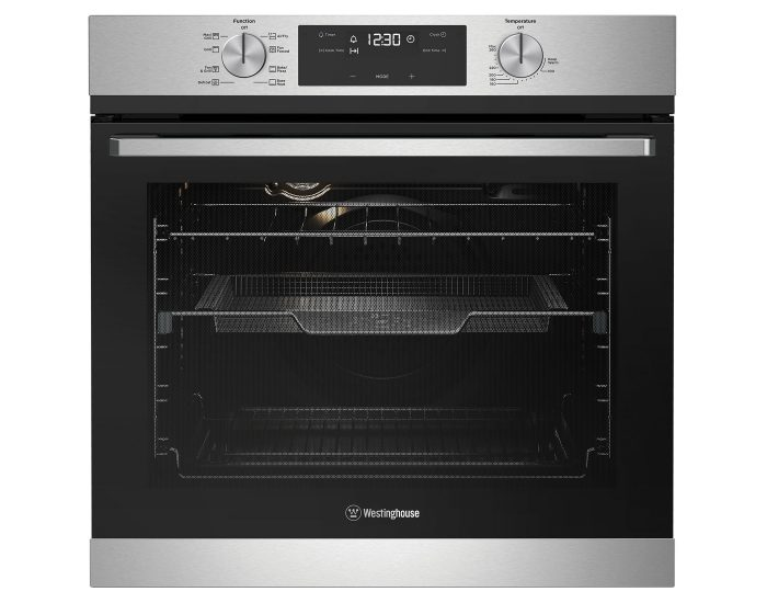 60cm multi-function 8 stainless steel oven with AirFry, telescopic runners and programmable timer. Main