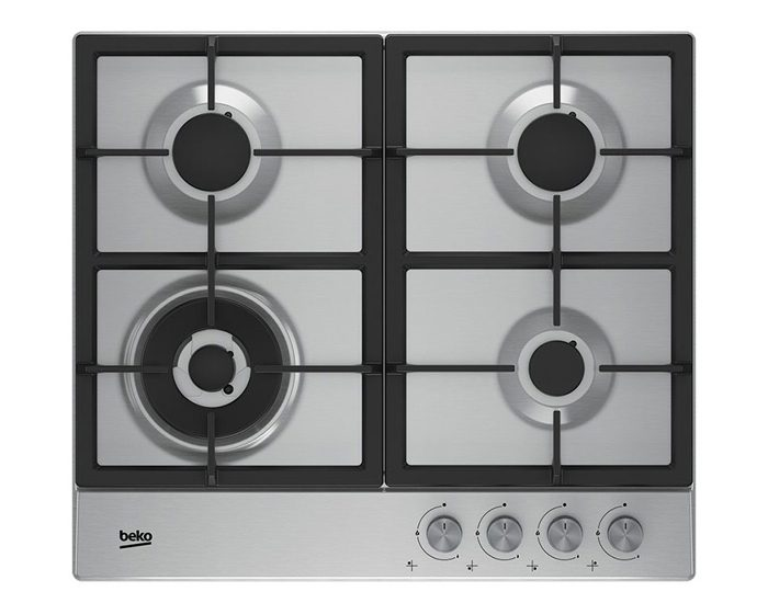 Beko BCT60GX 60cm Stainless Steel Gas Cooktop