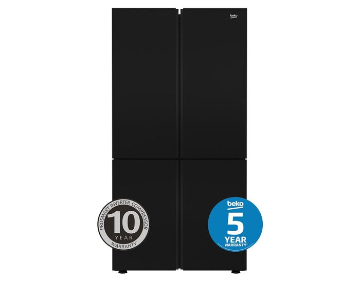 Beko BFR630DB 626L Black Glass French Door Fridge