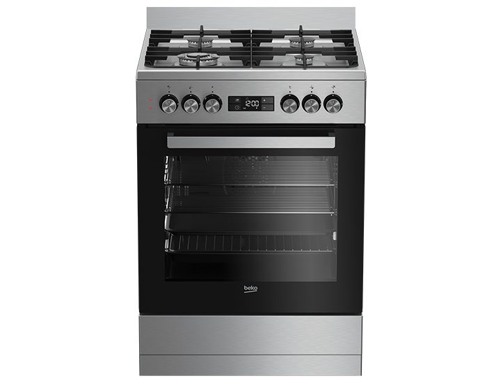Beko BFC60GMX 60cm Stainless Steel Dual Fuel Upright Cooker