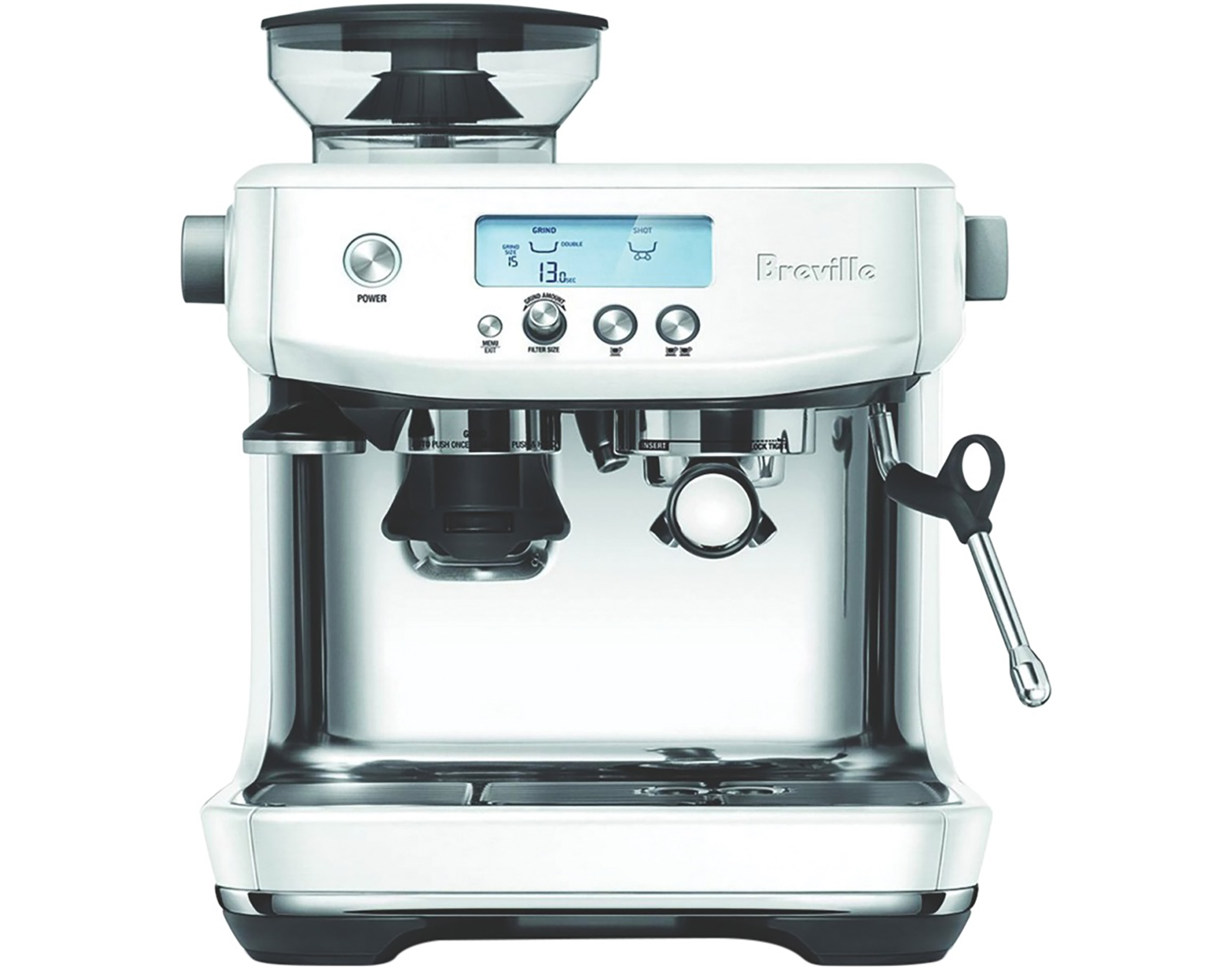 Breville BES878SST the Barista Pro Coffee Machine in Sea Salt Finish Main