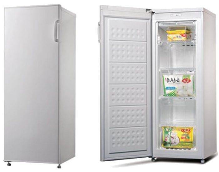 ChiQ CSF185W 185L White Upright Freezer Open Closed