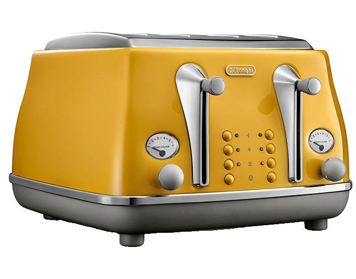 DeLonghi CTOC4003Y Icona Capitals 4 Slice Toaster New York Yellow Angle