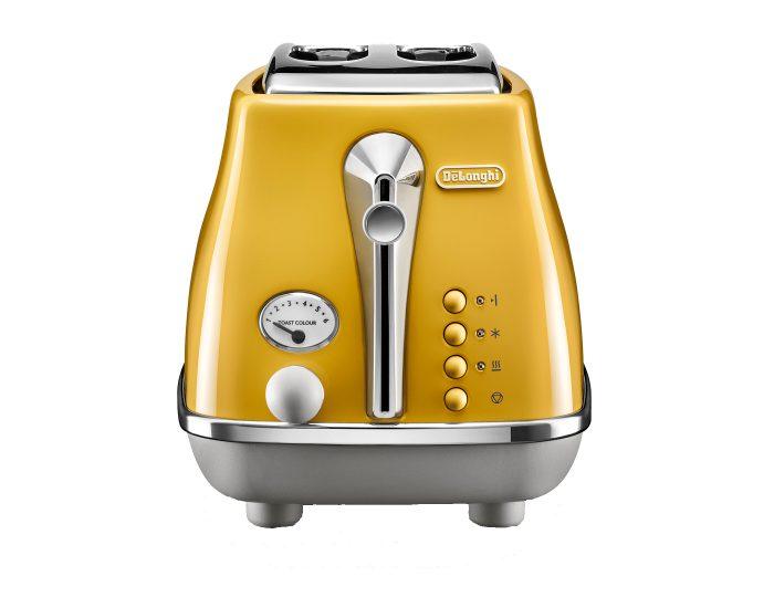Delonghi CTOC2003Y Icona Capitals 2 Slice Toaster New York Yellow Side