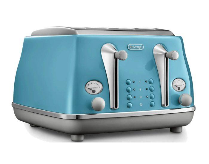 Delonghi CTOC4003AZ Icona Capitals 4 Slice Toaster - Lisbon Azure Angle