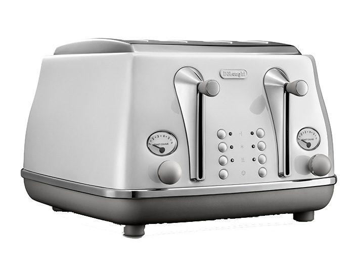 Delonghi CTOC4003W Icona Capitals 4 Slice Toaster - Sydney White Angle