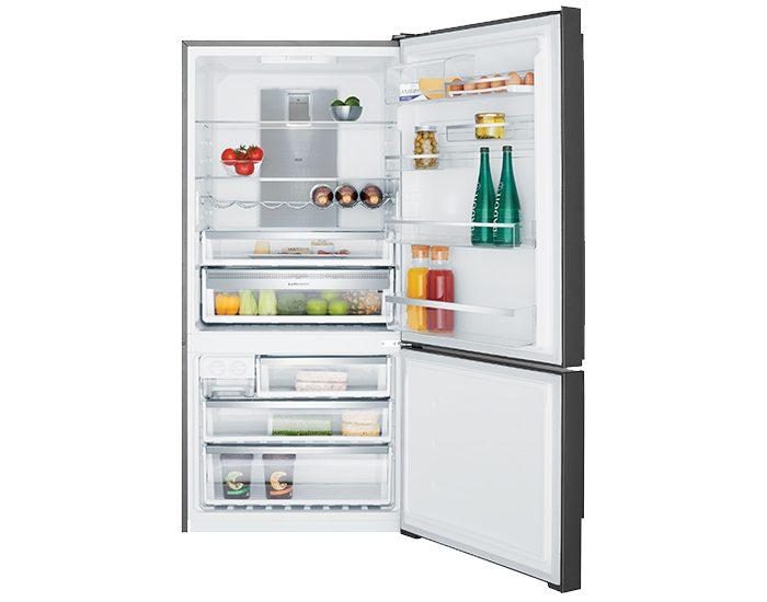 Electrolux EBE5307BBR 529L Dark Stainless Steel Bottom Mount Refrigerator Right Hinge Open Filled