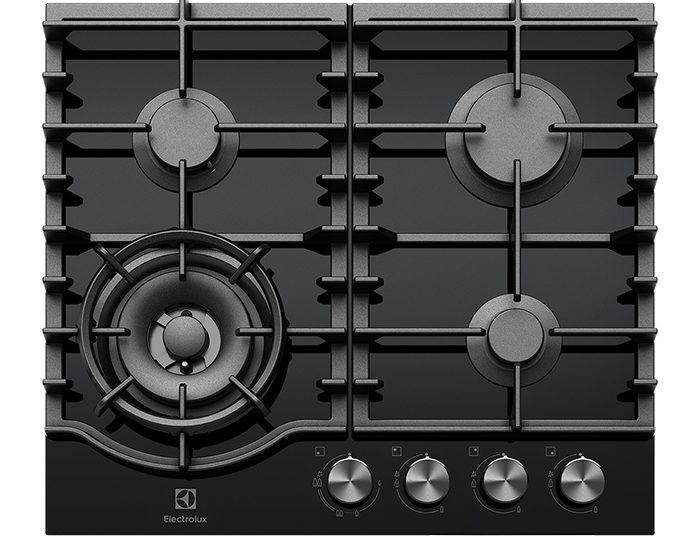 Electrolux EHG645BD Black Glass Gas 60cm Cooktop
