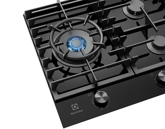 Electrolux EHG955BD 90cm 5 Burner Black Ceramic Glass Gas Cooktop Flame