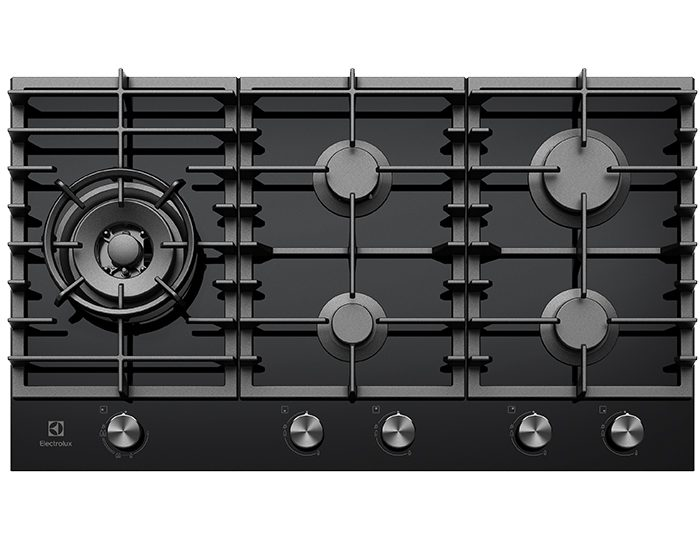 Electrolux EHG955BD 90cm 5 Burner Black Ceramic Glass Gas Cooktop Main
