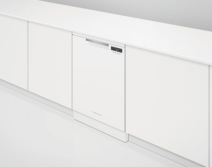 Fisher & Paykel DW60FC4W1 15 Place White Freestanding Dishwasher Lifestyle Angle