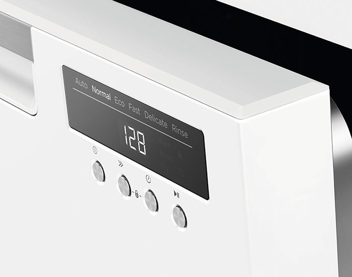 Fisher & Paykel DW60FC4W1 15 Place White Freestanding Dishwasher Lifestyle Control Panel Angle