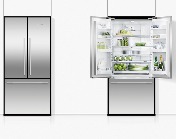 Fisher & Paykel RF522ADX5 519L Stainless Steel French Door Fridge Open Closed