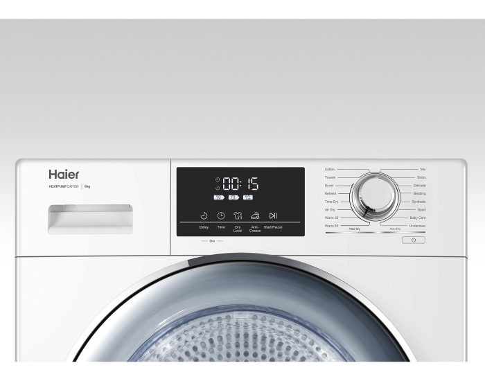 Haier HDHP80E1 8Kg Heat Pump Dryer in White Buttons