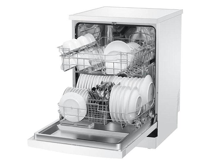 Haier HDW13V1W1 13 Place White Dishwasher Angle open