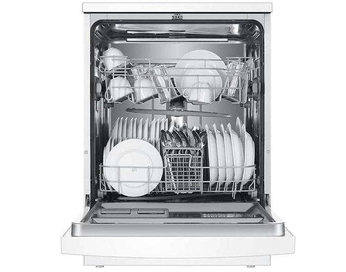 Haier HDW13V1W1 13 Place White Dishwasher Open Full