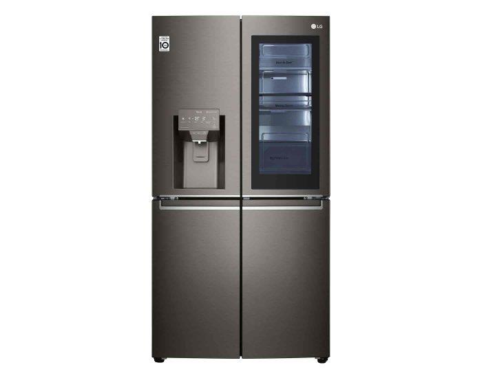 LG GFV706BSL 706L French Door Fridge with InstaView Door-In-Door, in Black Stainless Finish Top Open