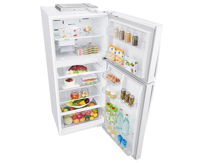 LG GT442WDC 441L White Top Mount Fridge Open Top Angle