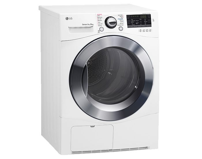 LG TDC80NPW 8kg Condensing Dryer Angle Left