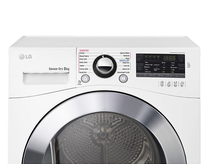 LG TDC80NPW 8kg Condensing Dryer Control Panel