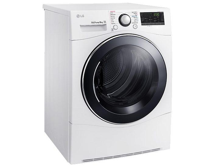 LG TDH802SJW 8kg Condensing Dryer Angle Left