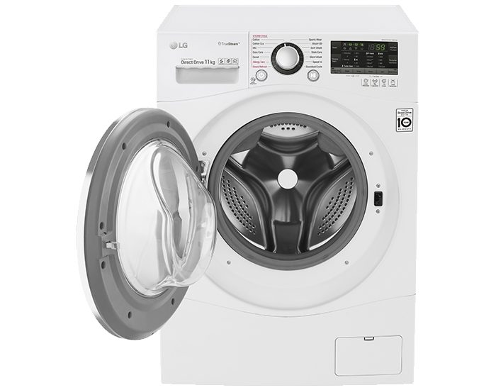 LG WD1411SBW 11kg Front Load Washer with TrueSteam® Door Open