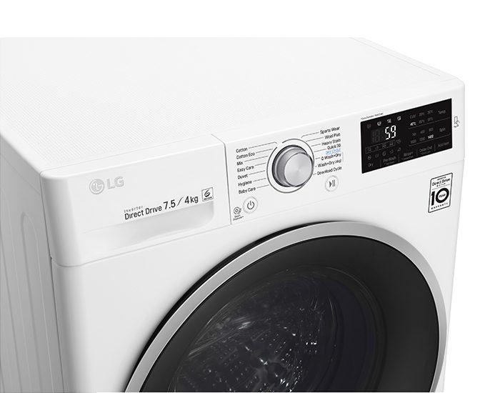 LG WDC1475NCW 7.5kg4kg Washer Dryer Combo Angle Panel