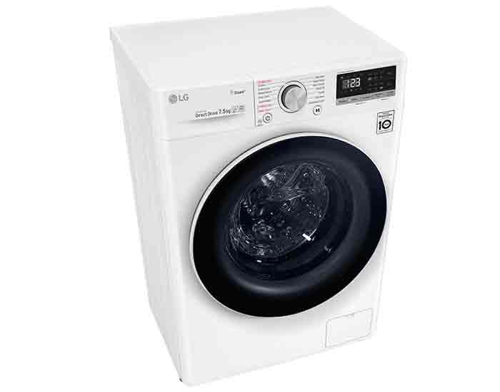 LG WV51275W 7.5kg Front Load Washing Machine with Steam Angle