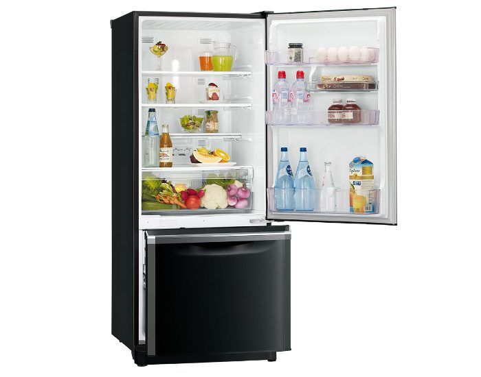 Mitsubishi Electric MRBF325EKOBA 325Lt Onyx Black Bottom Mount Fridge Main