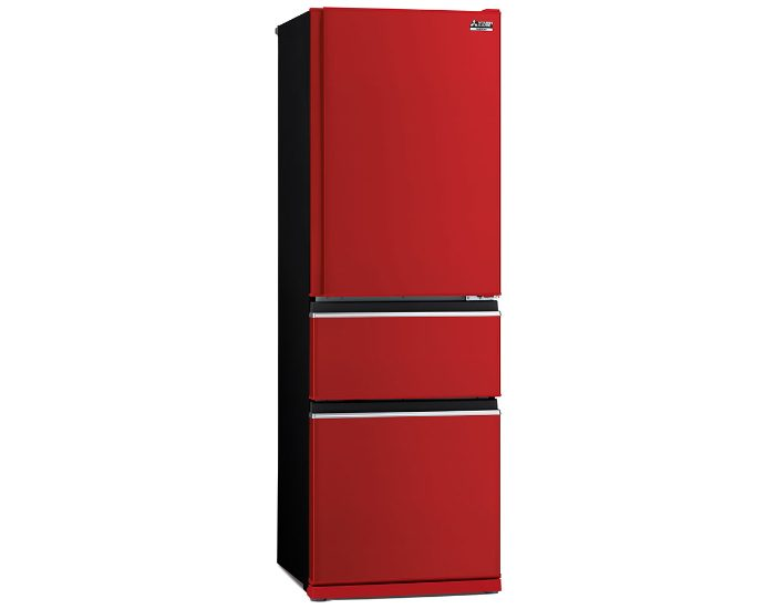 Mitsubishi Electric MRCX402EJRA1 Glossy Red 402Lt 3 Door Bottom Mount Fridge Main