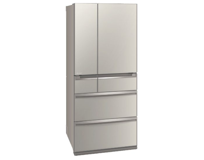 Mitsubishi Electric MRWX743CSA 743 Lt Argent Silver French Door Fridge Angle