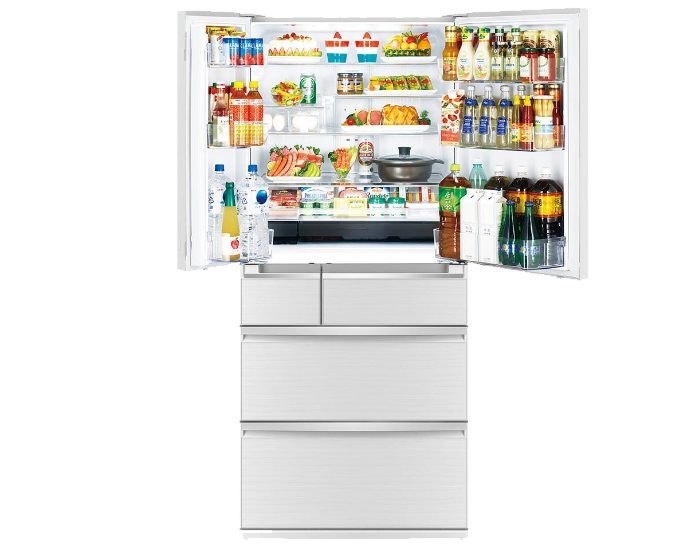 Mitsubishi Electric MRWX743CSA 743 Lt Argent Silver French Door Fridge Open Full