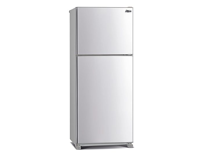 Mitsubishi MRFX420EPSTA2 420L Top Mount Refrigerator in Stainless Steel Angle