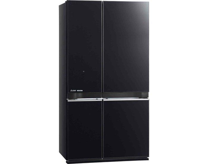 Mitsubishi MRL710ENGBKA2 710L French Door Refrigerator in Black Angle
