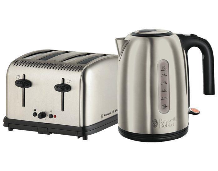 Russell Hobbs RHBP2 York 4 Slice Toaster & 1.7L Kettle - Stainless