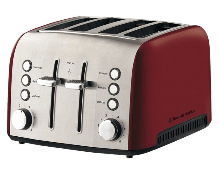 Russell Hobbs RHT54RBY Heritage Vogue 4 Slice Toaster - Ruby