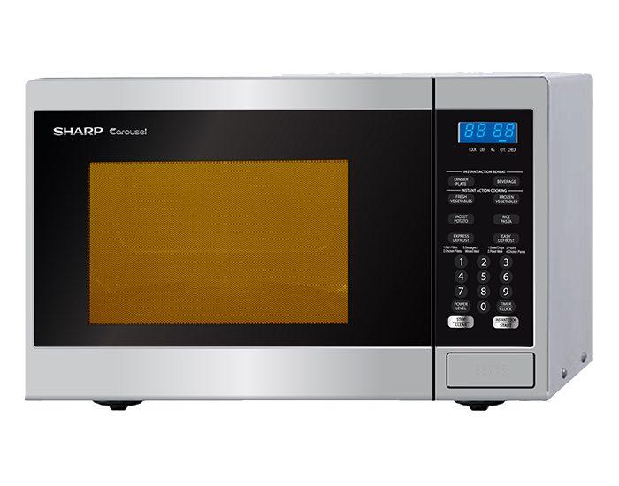 Sharp R231ZS 800W Silver Microwave Angle