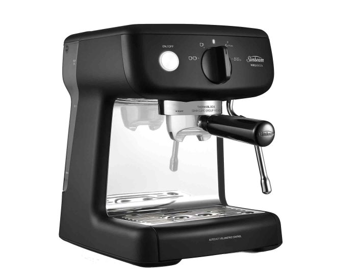 Sunbeam EM4300K Black Mini Barista Espresso Machine Angle