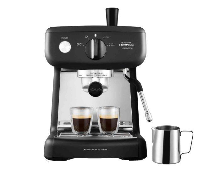 Sunbeam EM4300K Black Mini Barista Espresso Machine Front Espresso Jug