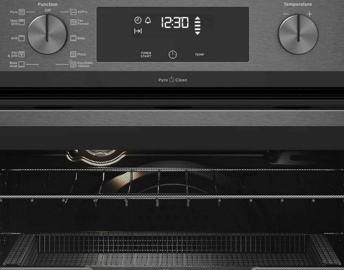 Westinghouse WVEP617DSC 60cm Multi-Function Dark Stainless Steel Oven With AirFry, Easy Bake +Steam, SteamAssist Clean And PyroClean Controls