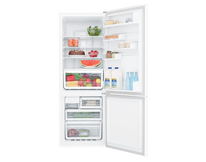 Westinghouse WBB3400WG 340L Frost Free Bottom Mount White Refrigerator Open