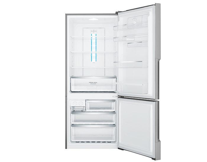 Westinghouse WBE4500SBR 453L Stainless Steel Bottom Mount Refrigerator Open Empty