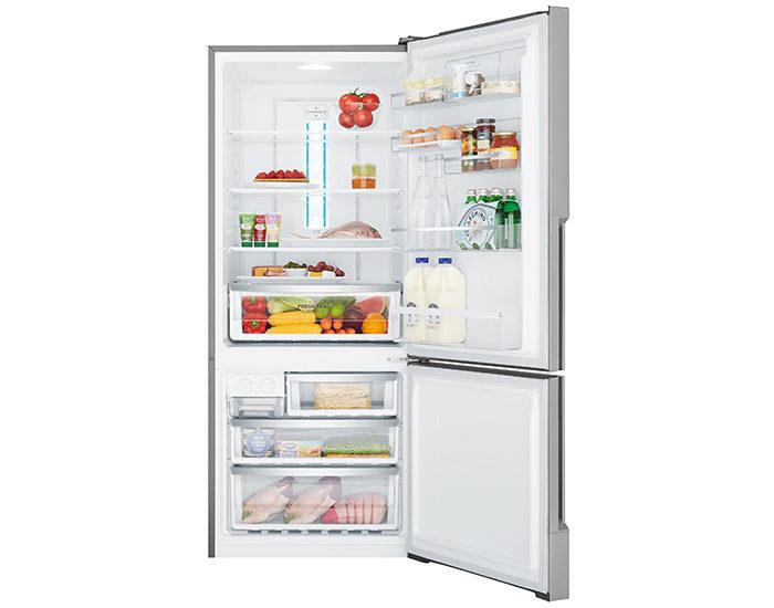 Westinghouse WBE4500SBR 453L Stainless Steel Bottom Mount Refrigerator Open Full