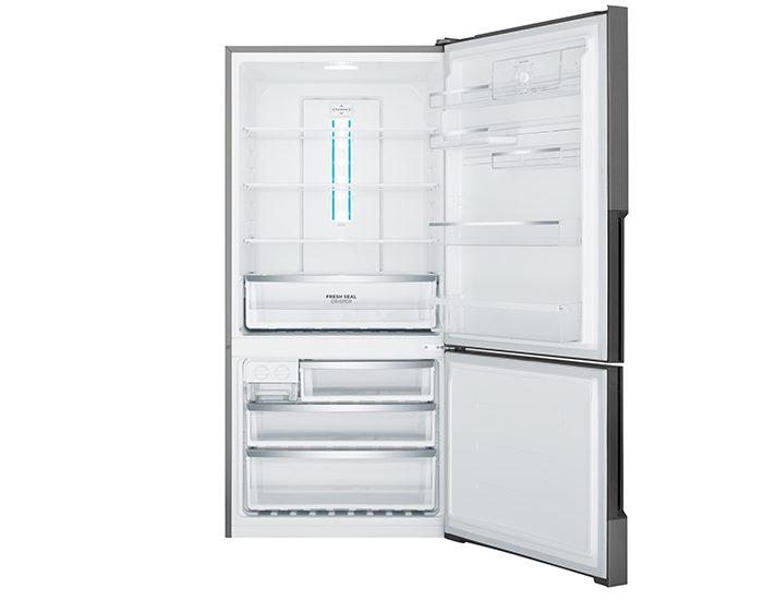 Westinghouse WBE5300BBR 528L Dark Stainless Steel Bottom Mount Refrigerator Open
