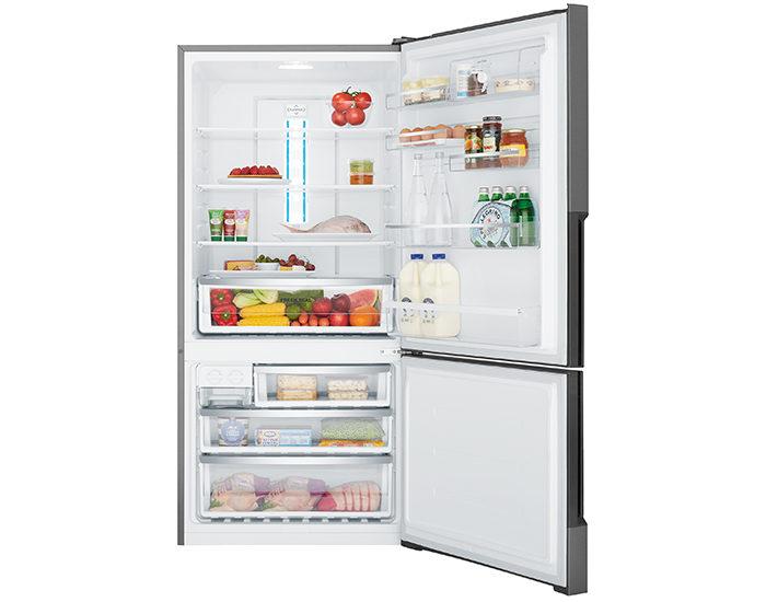 Westinghouse WBE5300BBR 528L Dark Stainless Steel Bottom Mount Refrigerator Open Full
