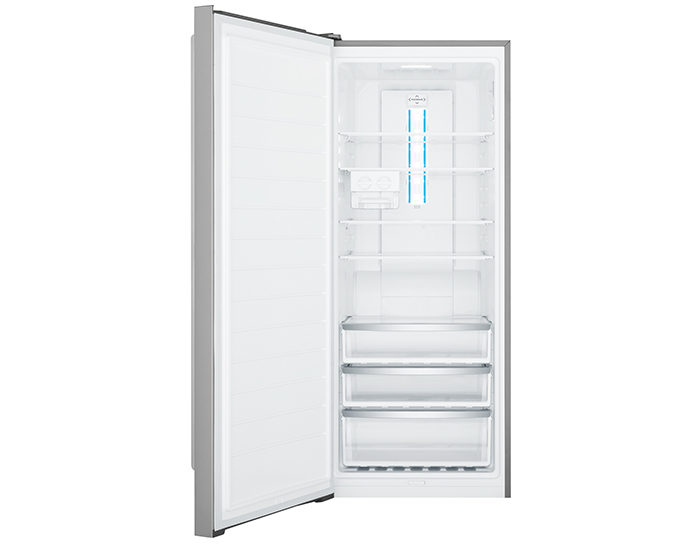 Westinghouse WFB4204SBL 425L Stainless Steel Vertical Freezer Open
