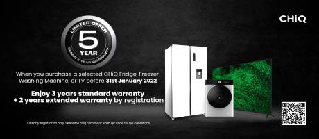 2021 Chiq 5 Year TV Warranty Slider